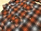 新品 フラットヘッド フラン ネルシャツ ジャケット 40 オレンジ 手描き チェック ウエスタン シャツ タイトショート 巻き縫い サイズL