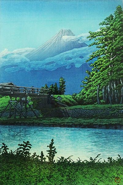 【昭和の郷愁】 川瀬巴水木版画額「田子の浦橋」 復刻版_画像2