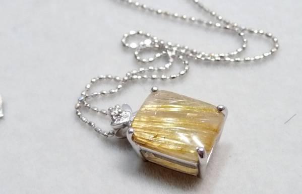 展示品 K18WG ダイヤ&ルチル3.0ct ペンダントトップ ネックレス 18金ホワイトゴールド_画像1