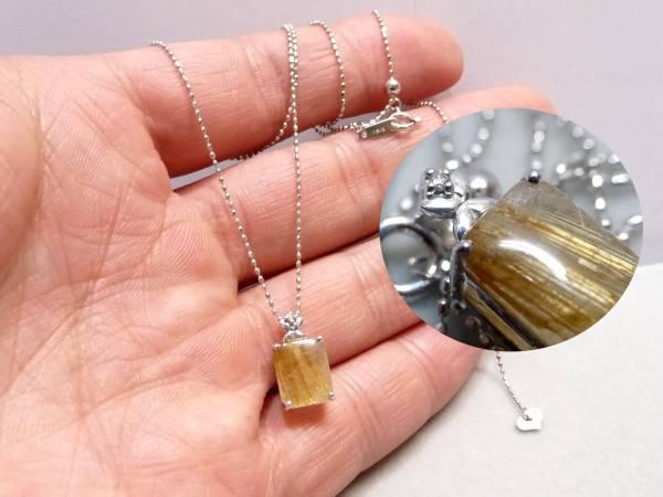 展示品 K18WG ダイヤ&ルチル3.0ct ペンダントトップ ネックレス 18金ホワイトゴールド_画像3