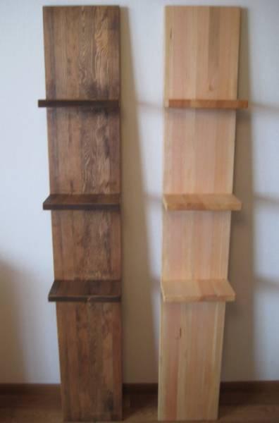 天然木の壁掛け棚 飾り棚 ハンドメイド_ブラウンとクリア