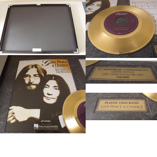 希少 John Lennon /ジョン・レノン 世界5千枚限定 'Give Peace A Chance' ゴールド・ディスク 24KT_画像2