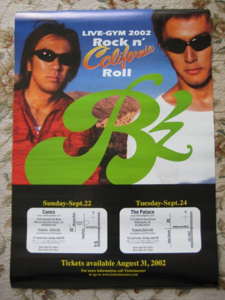 【非売品/レア】B'zポスター「LIVE-GYM 2002 Rock n' California」 ビーズ/稲葉浩志/松本孝弘 状態良好 ライブグッズの画像