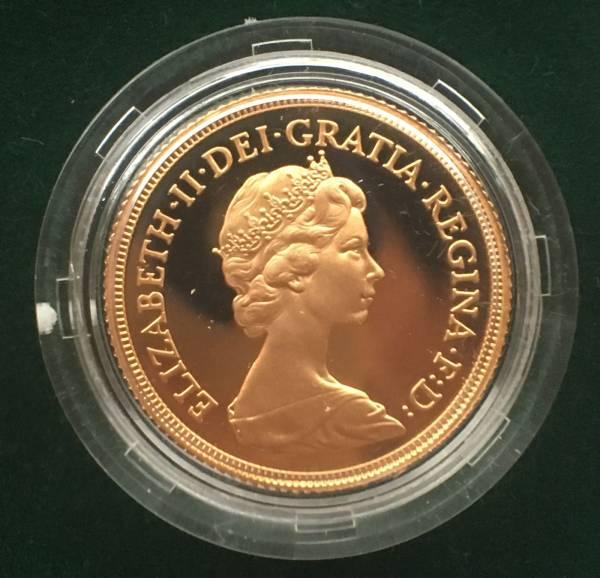 値下げ!イギリス 1980 ソブリン 金貨 プルーフ FDC ヤングエリザベス 箱、証明書付き_画像1