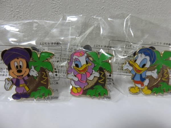 【即決】東京ディズニーランド シー ワゴンゲーム ヤシの木 ピンバッジ ミッキー、ドナルド、デイジー 3個セット ディズニーグッズの画像