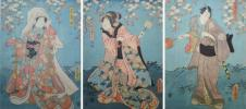 /HANA/本物保証 浮世絵 三枚 歌川豊国画!江戸時代木版画錦絵