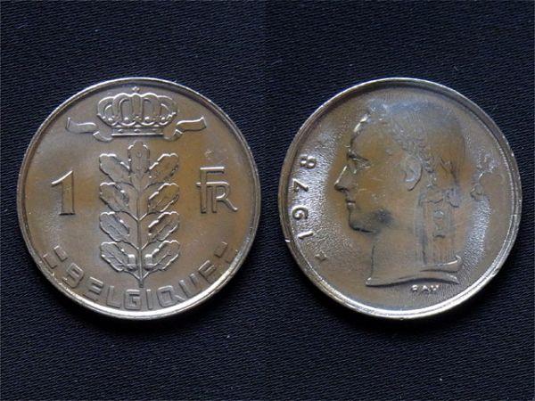 Belgium ] 1 franc Fr 1978 year white copper coin Belgique
