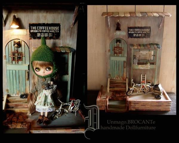ドールハウス*NYBrooklyn路地裏猫CAFE/ドール家具ブライス/オビツ11/momoko