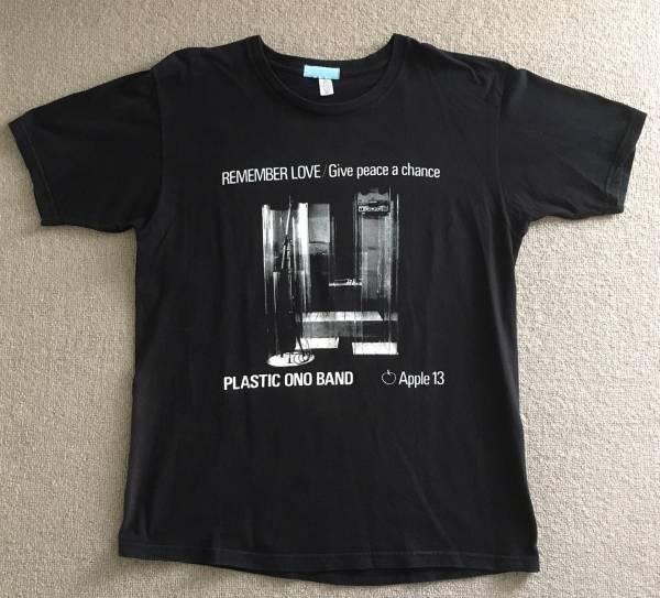 ☆ビームス x ジョン・レノン プラスチックオノバンド「平和を我らに」ジャケ Tシャツ ブラック