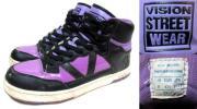 VISION STREET WEARハイカットHiスニーカー27cmメンズUSA9ビジョンEUR42.5バスケットシューズ靴バッシュ黒ブラック紫パープル90sビンテージ
