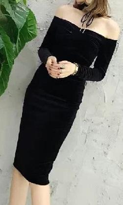 レディース インポート ベロア ベルベット オフショル 膝 下 丈 タイト ワンピース パーティー ドレス エレガント 秋 冬_画像3