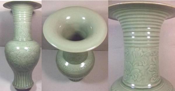 竜泉窯青瓷彫牡丹文大花瓶の情報