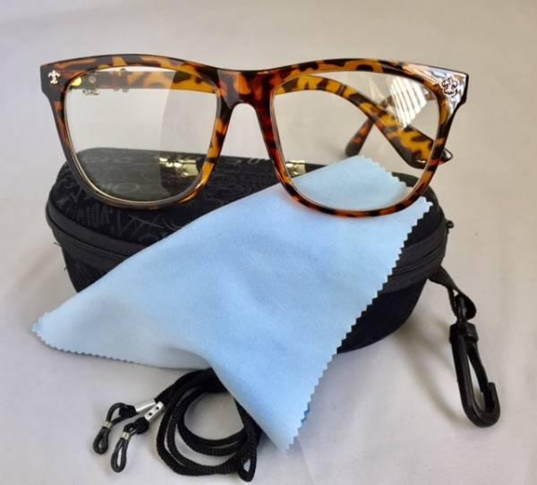 ファッション メガネ めがね イメージチェンジ 変装 豹柄 メガネ 眼鏡 クリア 花粉 コロナウイルス飛沫 保護 防御 伊達_便利なクリップ付メガネケース