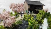 ジオラマ昭和イメージ 春 滝の見える茶店