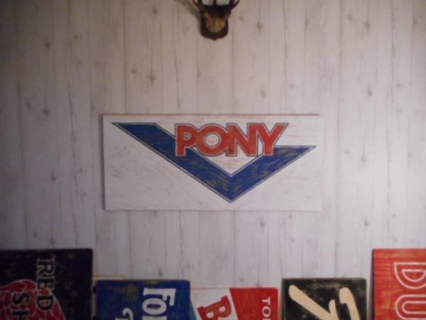 ビンテージ木製看板PONY検)ポニースニーカー40s50s60s70s80sアドバタイジングガレージアディダスNIKEニューバランスUSA_画像2