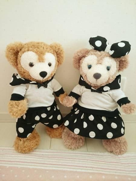 ダッフィー&シェリーメイトレーナーコスチューム服セットドット黒 ディズニーグッズの画像