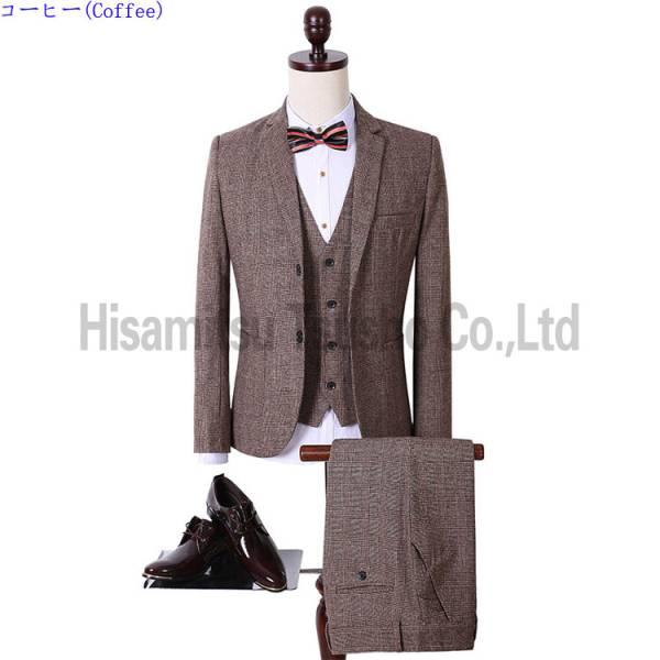 舞台衣装 コーヒー スーツ 礼服(3点セット) フォーマル M-3XL 声楽 演出 結婚 司会者 撮影用 GT03013_画像1