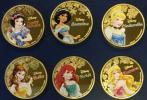 希少 ディズニー アリエル シンデレラ 白雪姫 ジャスミン プリンセス金メッキメダル エリザベス女王 特殊加工コイン6枚 ニュージーランド