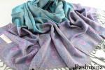 極上 パシュミナ カシミア100% ペイズリー 大判 ストール グレー系 パープル 水色 ブルー