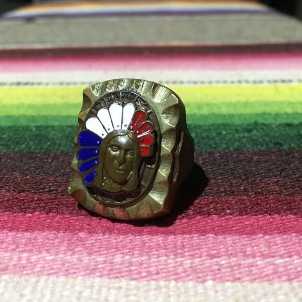 VINTAGE MEXICAN RING INDIAN HEAD ビンテージ メキシコ メキシカン リング 18号 インディアンヘッド 色 ゴールド シルバー 古着 ANTIQUE_画像1