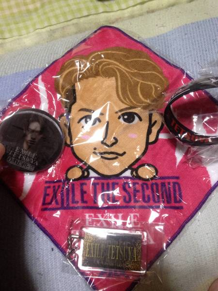 EXILE THE SECOND TETSUYA ミニタオル 缶バッチ ゴムブレス ネーム EXILE