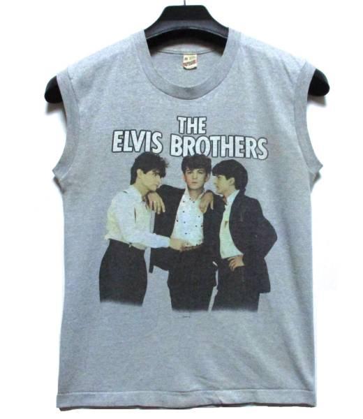 レア 1983 THE ELVIS BROTHERS ノースリーブ Tシャツ M SCREEN STARS MOVIN' UP 80'S ロック ロカビリー ロックンロール FIRE IN THE CITY