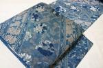 きものふじかわ★極上 藍染紹巴織り袋帯 唐織 唐花文様 青藍色、紺グレー色地
