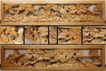 ◇藤子◇石川県出身 彫漆工芸家 吉田楳堂作 細密木彫花鳥彫 欄間一対