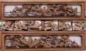 ◆佐助◆井波彫刻 超有名人!大島五雲刀 芍薬に鳥彫 欄間一対