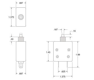 簡単取付252-001-150サーキットブレーカー120v15Aノーヒューズブレーカー取り外し品パネルに9mmの穴を開け取り付けます送料120円_画像3