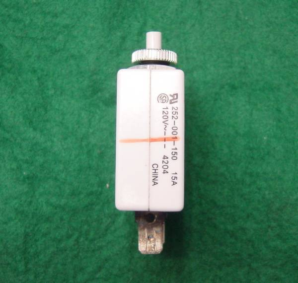 簡単取付252-001-150サーキットブレーカー120v15Aノーヒューズブレーカー取り外し品パネルに9mmの穴を開け取り付けます送料120円_画像2