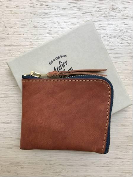 ほぼ新品 ROBERU Shading Leather Short Zip Wallet コインケース カードケース 小銭入れ