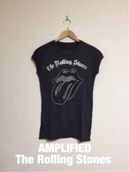 【新品】AMPLIFIED THE ROLLING STONES アンプリファイド ザ ローリングストーンズ コラボ Tシャツ ラインストーン 半袖 サイズS ライブグッズの画像