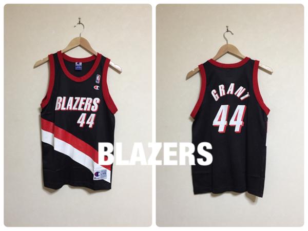 NBA Portland Trail Blazers #44 GRANT Champion チャンピオン製 トレイル ブレイザーズ ユニフォーム サイズL(14-16) ブラック バスケット グッズの画像
