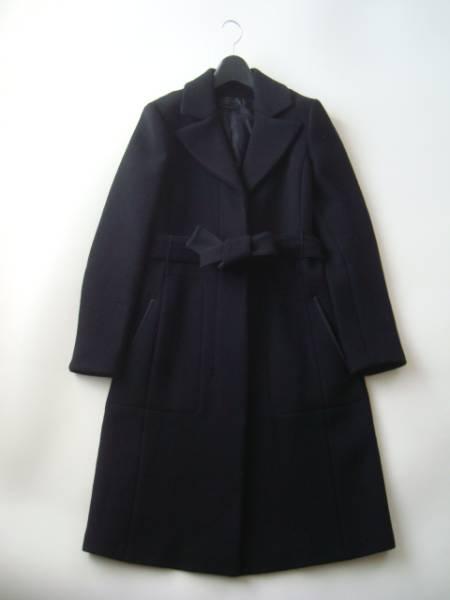 narciso rodriguez イタリア製カシミア混ブラックコート size42 ナルシソロドリゲス ベルト付き_画像1