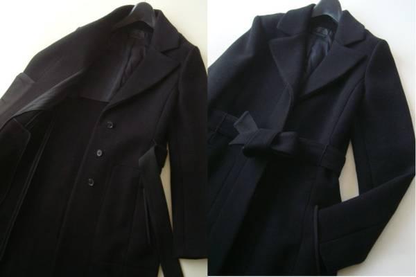 narciso rodriguez イタリア製カシミア混ブラックコート size42 ナルシソロドリゲス ベルト付き_画像2