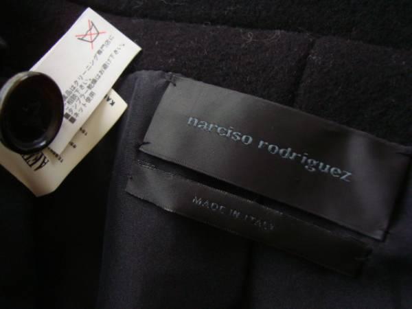 narciso rodriguez イタリア製カシミア混ブラックコート size42 ナルシソロドリゲス ベルト付き_画像3
