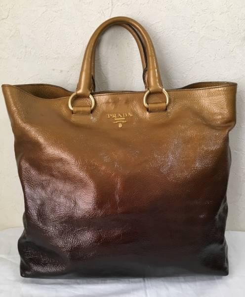 本物◆希少品◆超美品◆サービス品◆プラダ PRADA◆ トートバッグ パテント ゴールドグラデーション 保存袋付