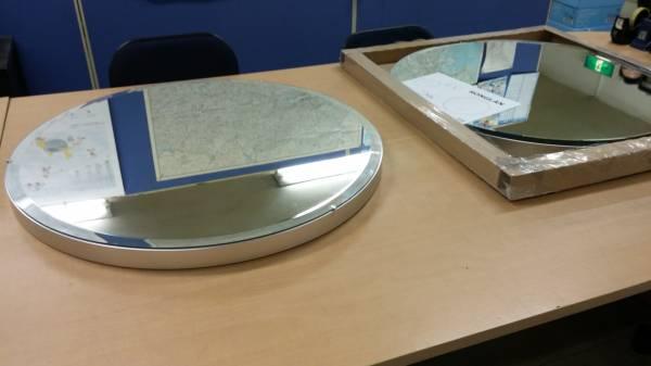 ラスト1大型ミラー鏡イケアIKEA未使用アルミ廃盤メタル絶版インダストリアル工業系ガレージ壁掛けウォール_画像1
