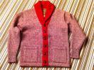CUSHMANクッシュマンショールカラーカーディガン美品赤×グレーミックスM/ウエアハウスヘラーズカフェ
