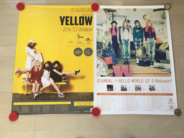 SCANDAL告知ポスター「HELLO WORLD」「YELLOW」「ENCORE SHOW」