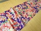 ◆正絹 古布 ハギレ 紫の平絹 扇や源氏車 花◆