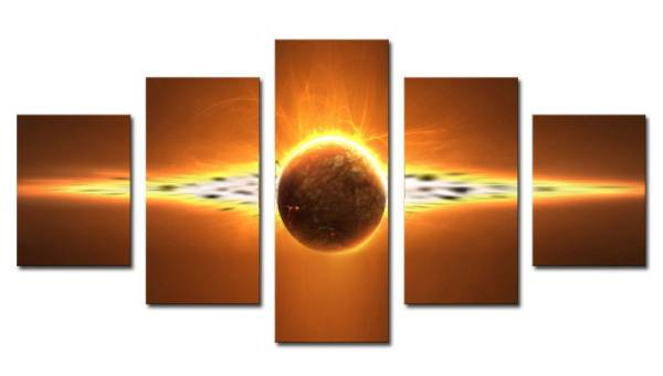 アートパネル 『星』 30x60cm x 2枚他、計5枚組 手描き_画像1