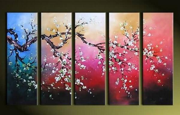 アートパネル 『白梅』 30x80cm、5枚組 梅の木 肉筆