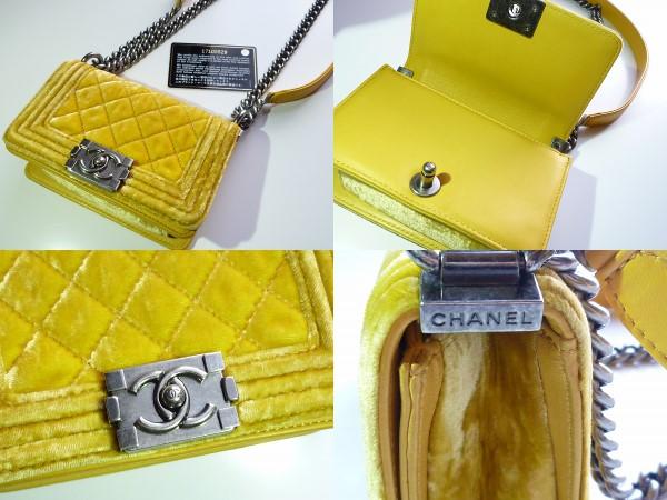 BOY CHANEL 2013年 チェーンショルダーバッグ 手のひらサイズ レモンイエロー 黄色 ミニ ボーイ シャネル ベルベット マトラッセ 小さい_画像2