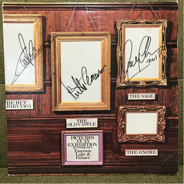 Emerson, Lake & Palmer ELP キース・エマーソン グレッグ・レイク Carl直筆サイン入りレコード 『展覧会の絵』Pictures At An Exhibition