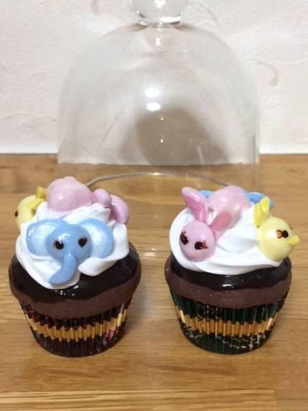 JYJイメージ フェイクスウィーツ ぞう・うさぎ・ひよこさんカップケーキ(1個) ガラスドーム付き 紙粘土・シリコーン材使用66番