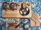 家家酒玩具 - ☆おままごとセット☆木製キッチン☆ステンレス鍋☆包丁☆まな板☆陶器ミニ皿・コップ☆中古難あり☆