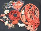 ★ 珊瑚 赤 白 ピンク ルース ネックレス イヤリング ★血赤 サンゴ まとめ 440g アクセサリー 帯留め タイピン さんご 2#713