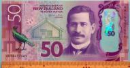 世界の紙幣【ニュージーランド】新絵柄高額50ドル 2015年 ポリマー 未使用 一円〜